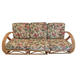 Paul Frankl Style Pretzel Rattan Sofa