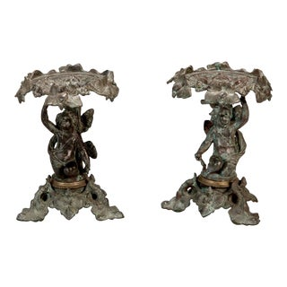 19th C. Tall Bronze French Tazzas - A Pair