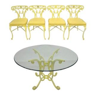 Molla Style Victorian Cast Aluminum Trojan Yellow Metal Patio Dining Set