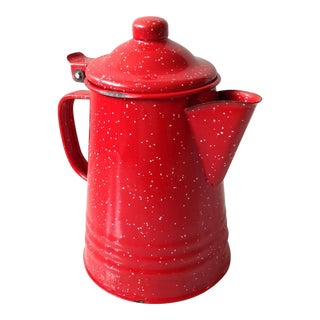 French Country Red Enamel Coffee Pitcher
