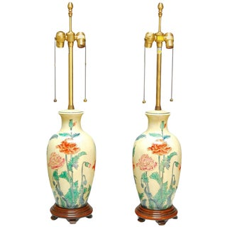 Marbro Ceramic Floral Vase Table Lamps - a Pair