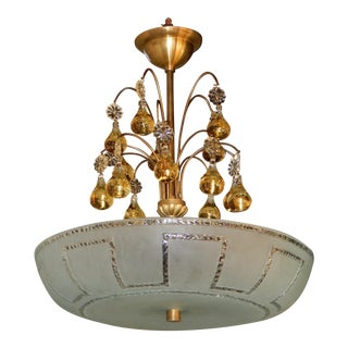 Orrefors Mid-Twentieth Century Hanging Fixture with Pear Crystal Canopy, Circa 1950