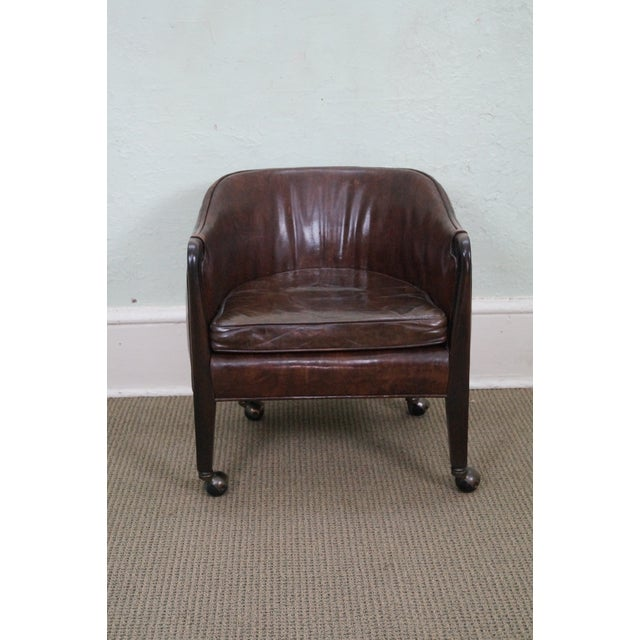 Widdicomb Small Barrel Back Leather Club Chair - Image 2 of 10
