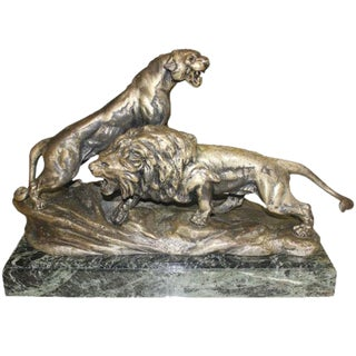 "French Art Deco Sculpture of Panther and Lion by ""Cartier"" Circa 1940's"