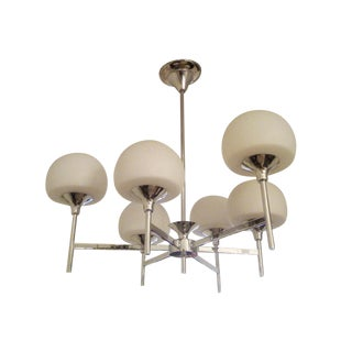 White & Chrome Reggiani Italian Chandelier