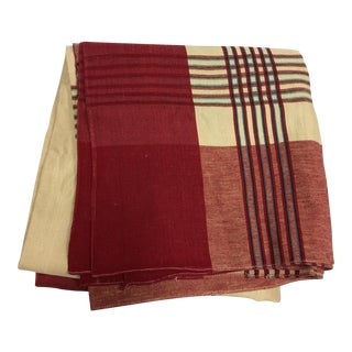 Ivory & Red Linen Tablecloth