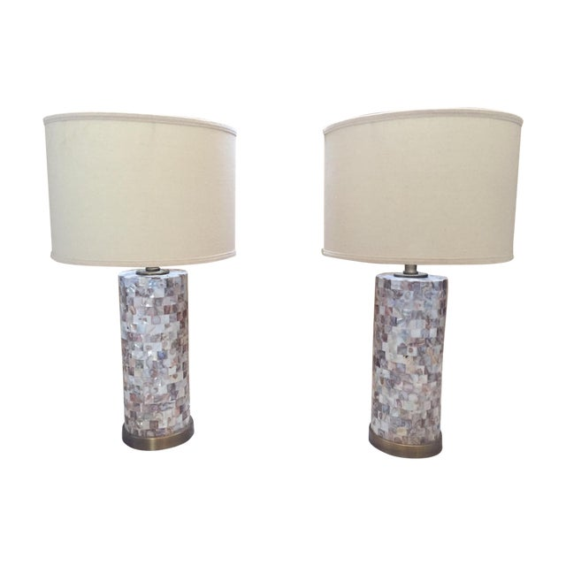 Mother of Pearl Tile Base Table Lamps - A Pair - Image 1 of 5