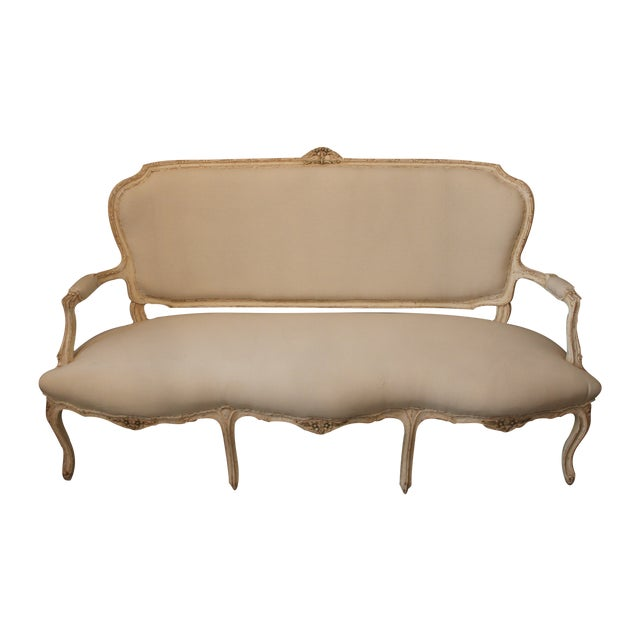 Image of French Upholstered 6-Leg Settee