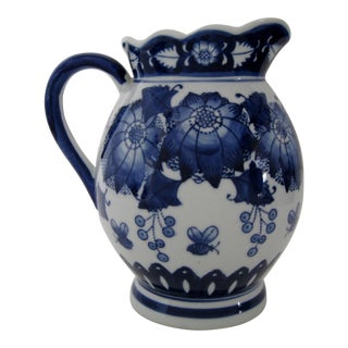 Blue on White Porcelain Pitcher