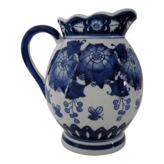 Blue on White Porcelain Pitcher