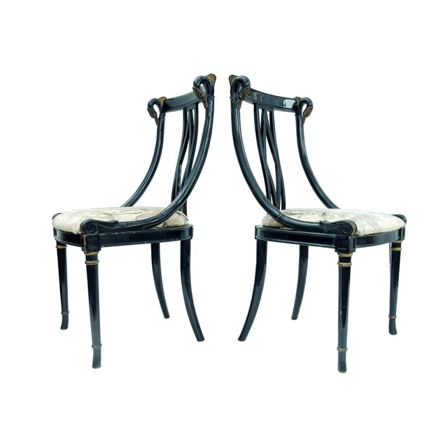 Hollywood Regency Black & Gold Swan Chairs - A Pair - Image 3 of 10