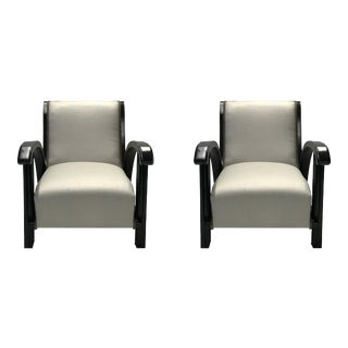 Black Wood Taupe Deco Chairs - A Pair