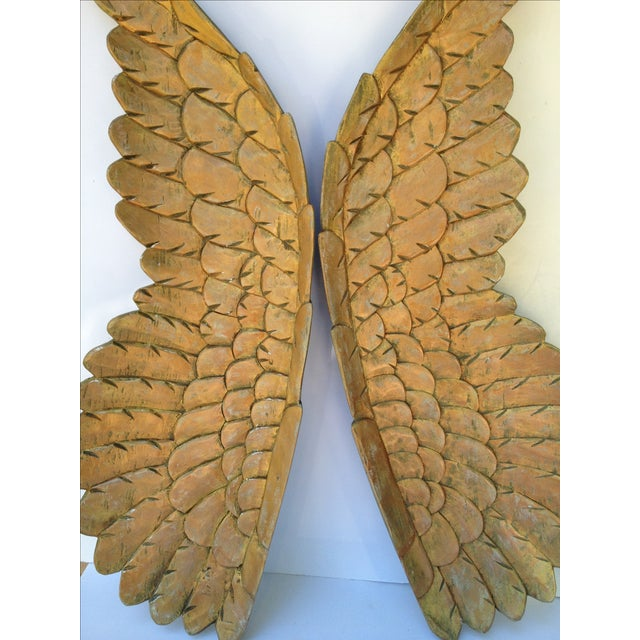 Large Gold Carved Wood Wings - Pair - Image 5 of 6