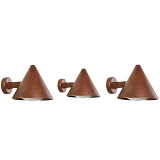 Set of Three Copper Exterior Sconces by Bega