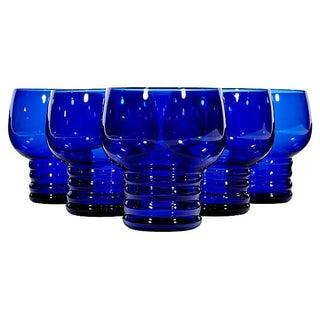 Art Deco Cobalt Glass Tumblers - Set of 6