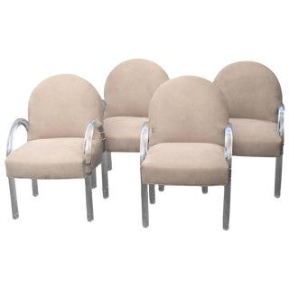 Mid-Century Modern Lucite & Upholstered Armchairs - Set of 4