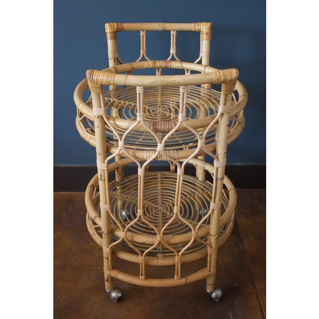 Vintage Round Bamboo & Glass Bar Cart - Image 4 of 8