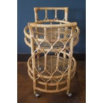 Image of Vintage Round Bamboo & Glass Bar Cart