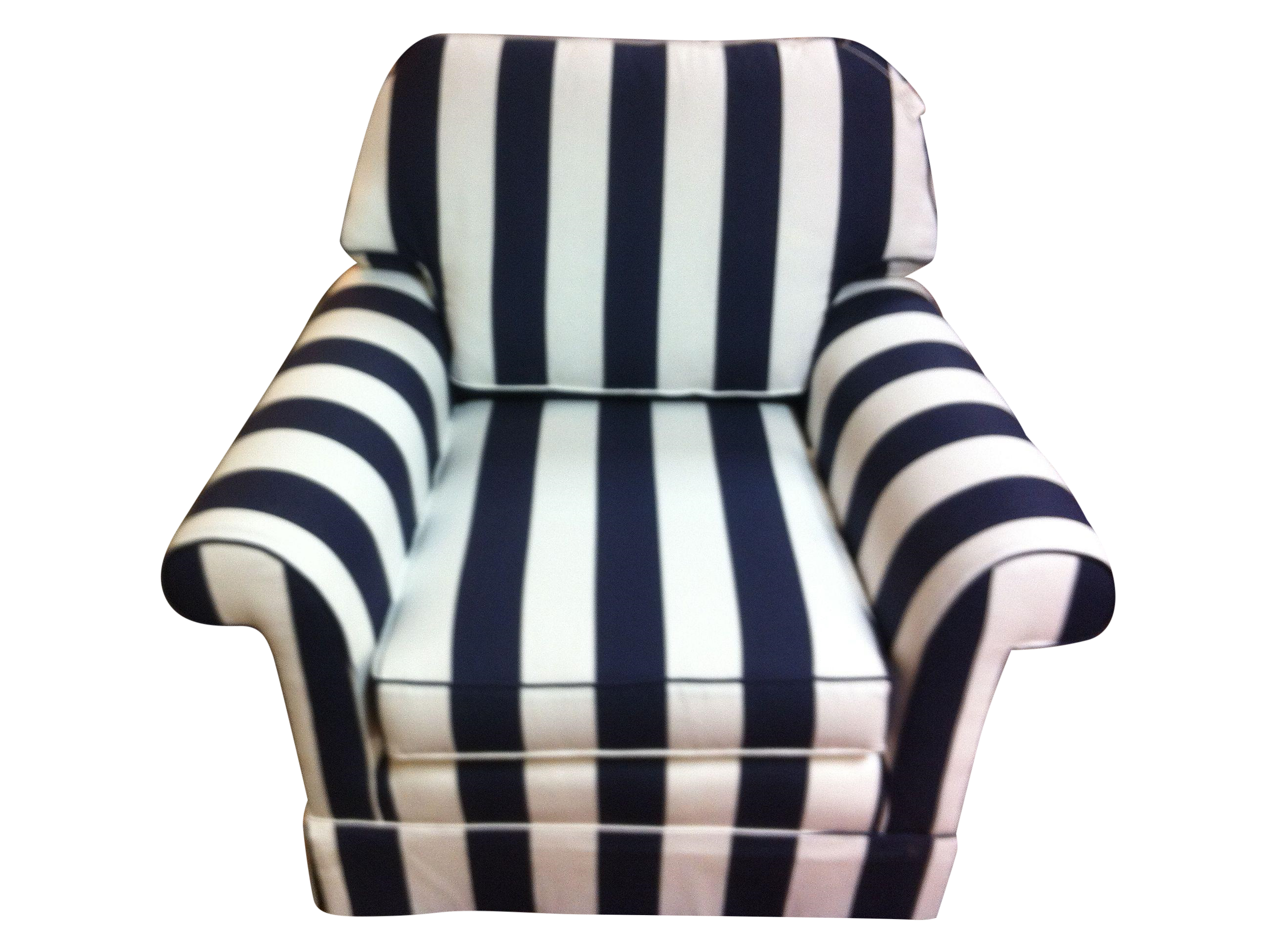 Navy blue and white striped chair chairish