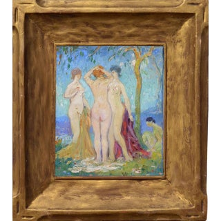 """Abel Warshawsky """"The Three Graces"""" C. 1929 Painting"""