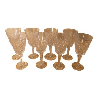 Vintage Crystal Wine Goblets - Set of 8
