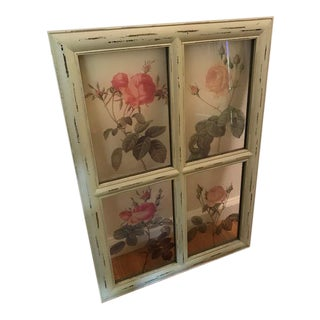 Shabby Chic Window Pane-Style Floral Wall Art