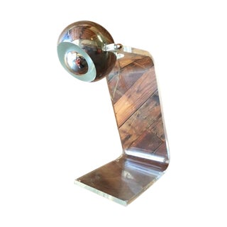 1970's Vintage Chrome and Lucite Table Lamp