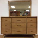 Image of Mid-Century Bleached Mahogany & Brass Long Dresser