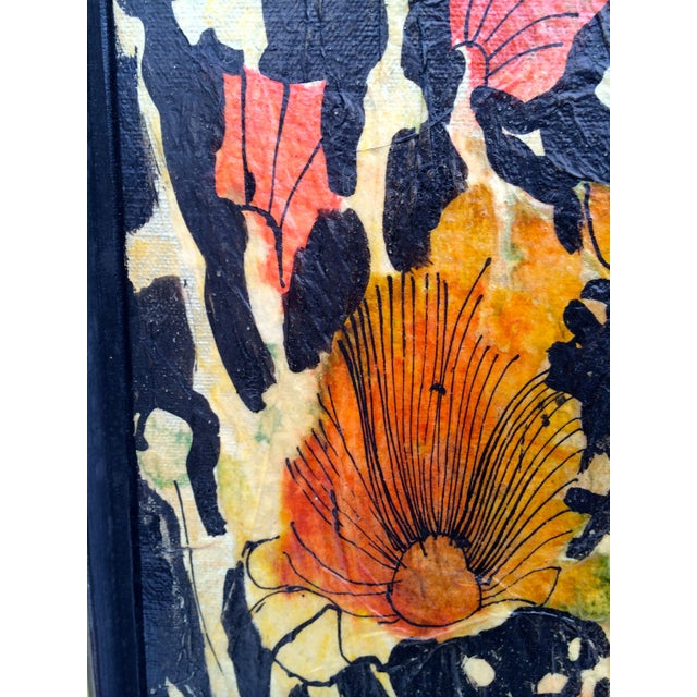 "Mixed Media Flower Art 60s - 26"" x 38"" - Image 3 of 4"