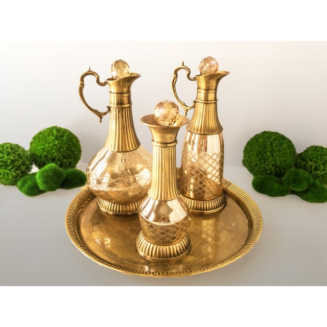 Vintage Brass & Iridescent Amber Crystal Decanter Set - Image 2 of 8