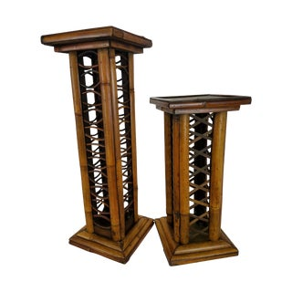 Vintage Bamboo Candle Holder Pedestals - a Pair