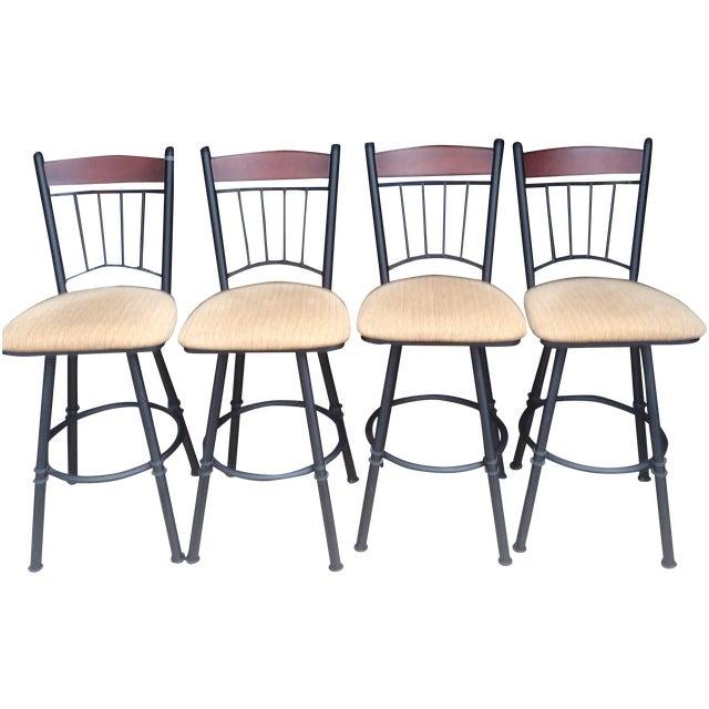 Swivel Metal Bar Stools With Cushion - Set of 4 - Image 1 of 7