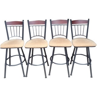 Swivel Metal Bar Stools With Cushion - Set of 4