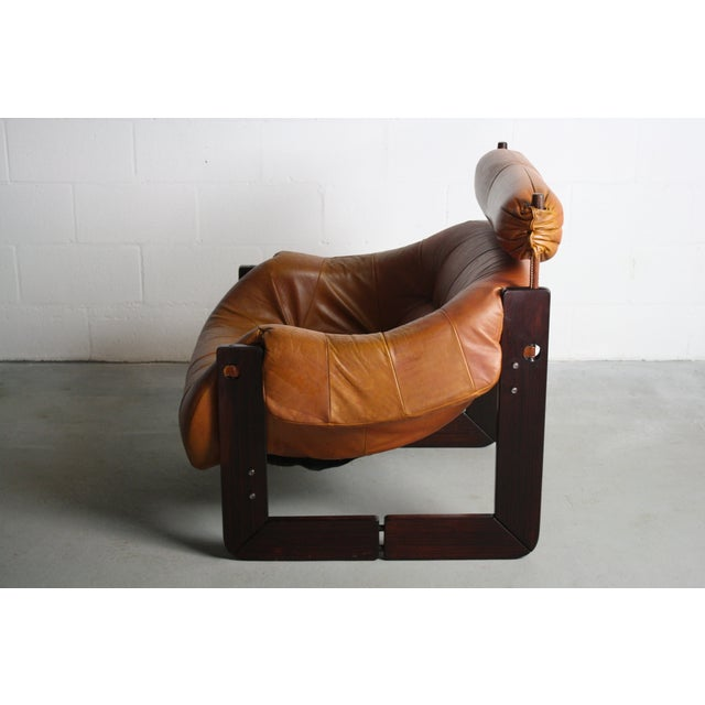 Percival Lafer Rosewood Tan Leather Lounge Chair - Image 4 of 11
