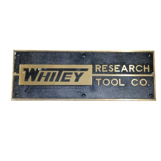 Whitey Research Tool Co. Bronze Sign Over 3 Feet