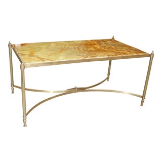 French Maison Jansen Coffee Or Cocktail Table Bronze Rectangular With Onyx Top Circa 1940s.