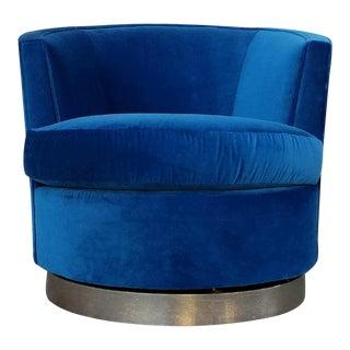 Vintage Blue Velvet Swivel Barrel Chair