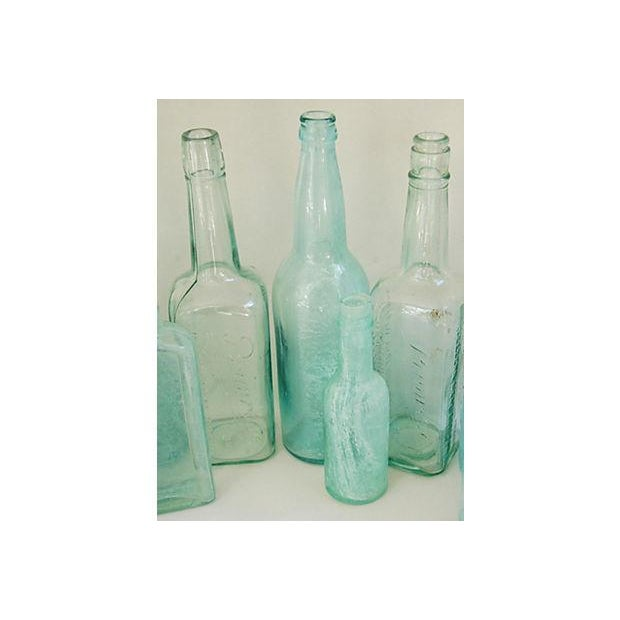 Antique Teal & Blue Glass Bottles - Set of 10 - Image 6 of 8