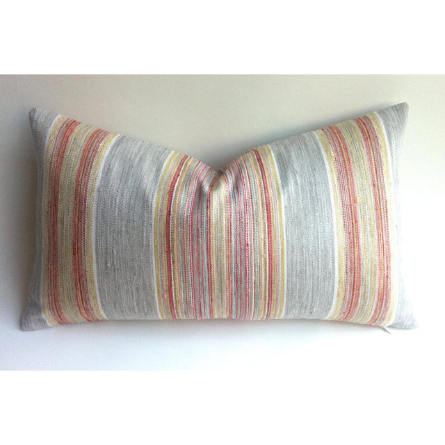 Coral & Grey Stripe Euro Sham Pillow Cover - Image 3 of 6