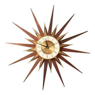 Vintage Elgin Mid Century Star Burst Wall Clock