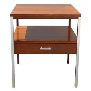 Authentic Paul McCobb Wood & Chrome End Table