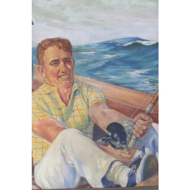 Image of 1950s Painting of Deep Sea Fisherman