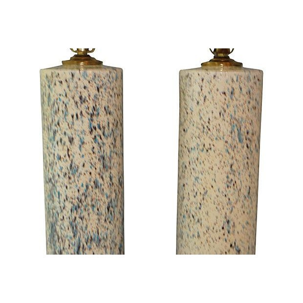 Midcentury Spatter-Painted Lamps - Pair - Image 2 of 4