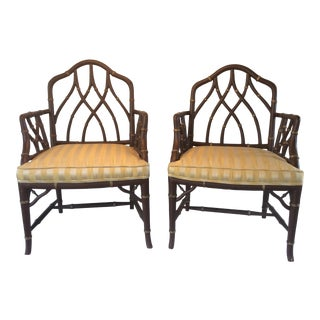 Vintage Faux Bamboo Armchairs - A Pair