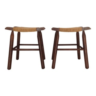 Rush Seat Stools- A Pair