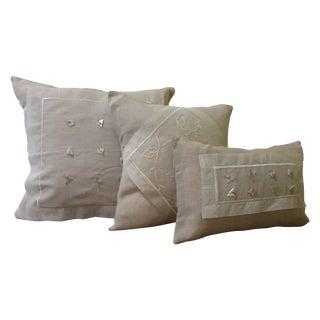 Delicate Linen & Voile Pillows - Set of 3