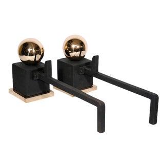 Art Deco Brass & Iron Andirons - A Pair
