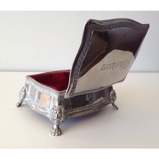 Silver Plated Lion-Footed Engraved Keepsake Box - Image 8 of 11
