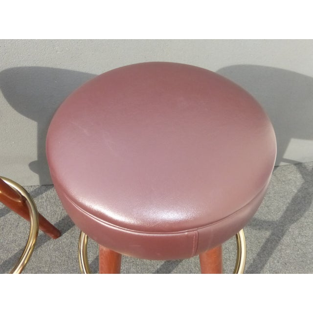 Image of Mid-Century Modern Brown Vinyl Bar Stools - A Pair