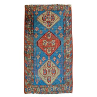 "Antique Sky Blue Persian Heriz Rug - 2'5"" X 4'8"""